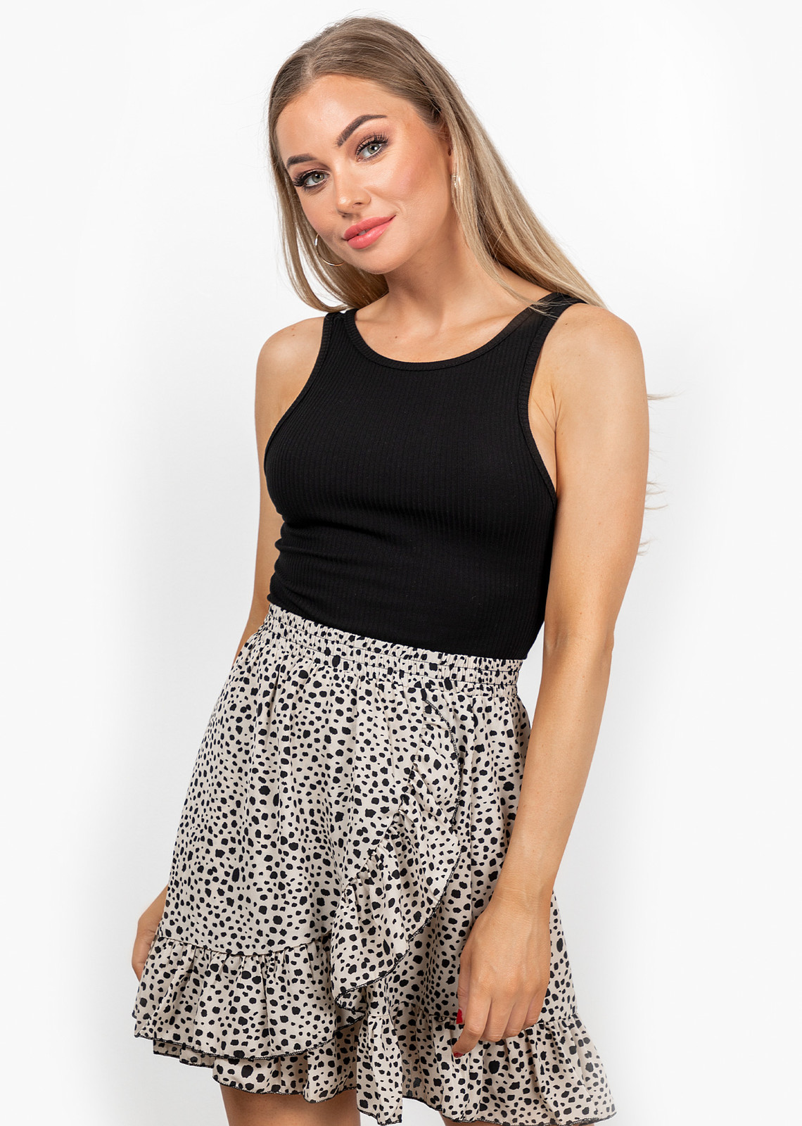 Dots skirt beige