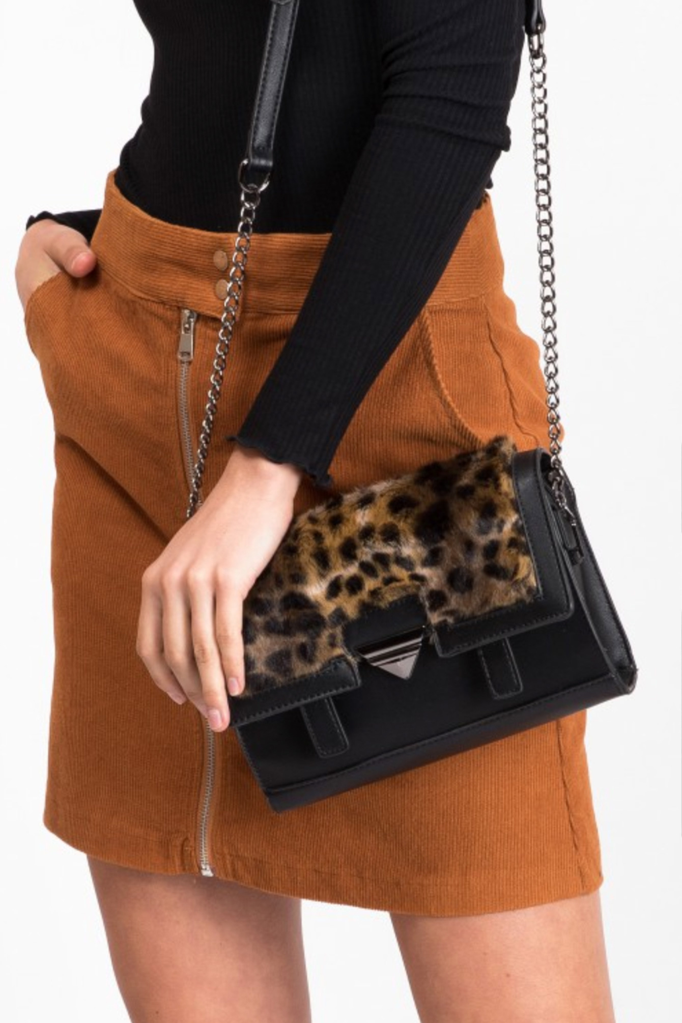 Faux fur bag leopard