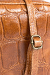 Croco leather bag camel