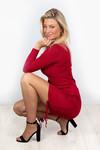 Rib jurkje Tessa rood