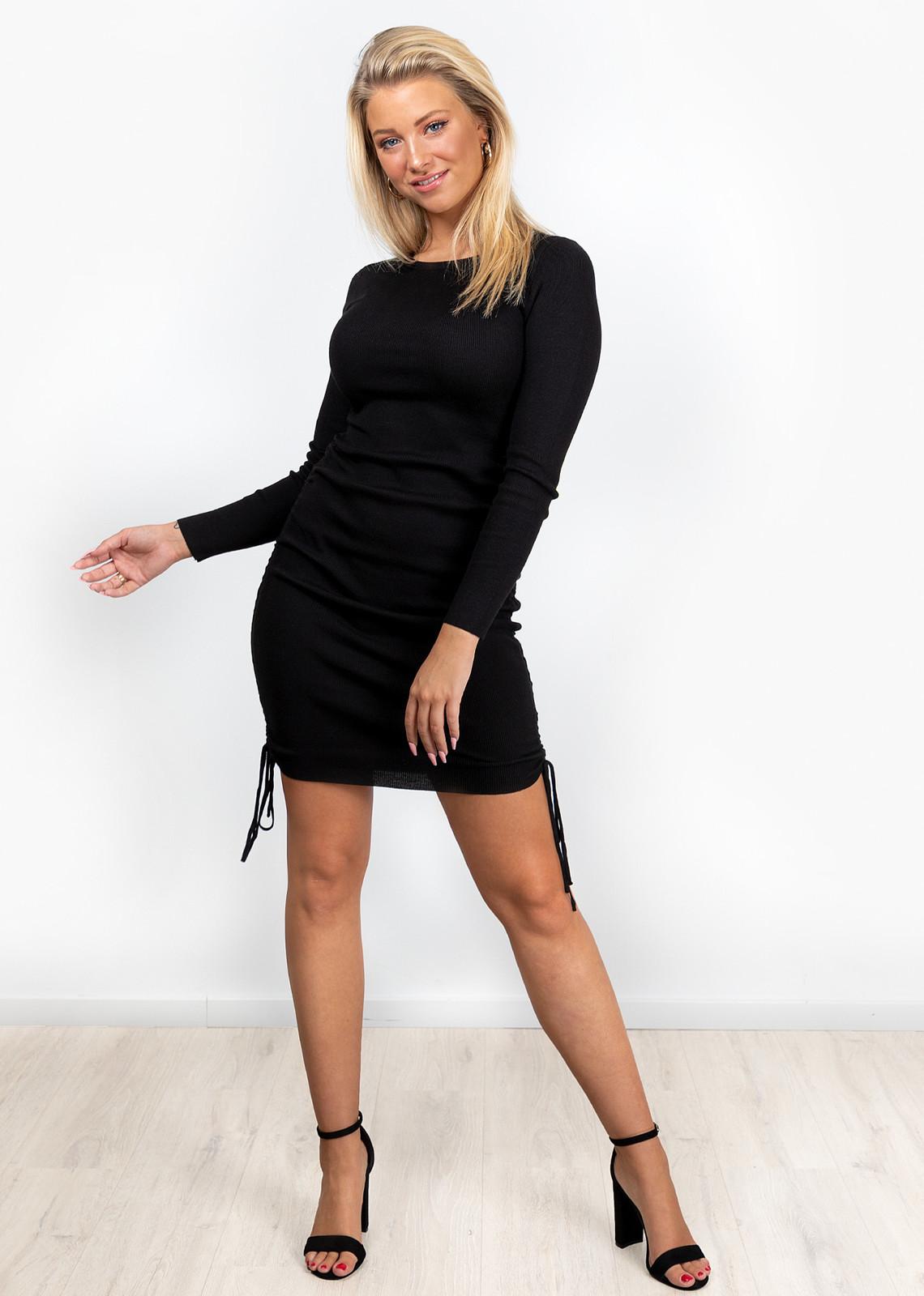 Rib jurkje Tessa zwart