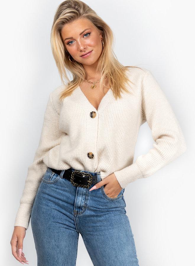 Button knit Vaja beige