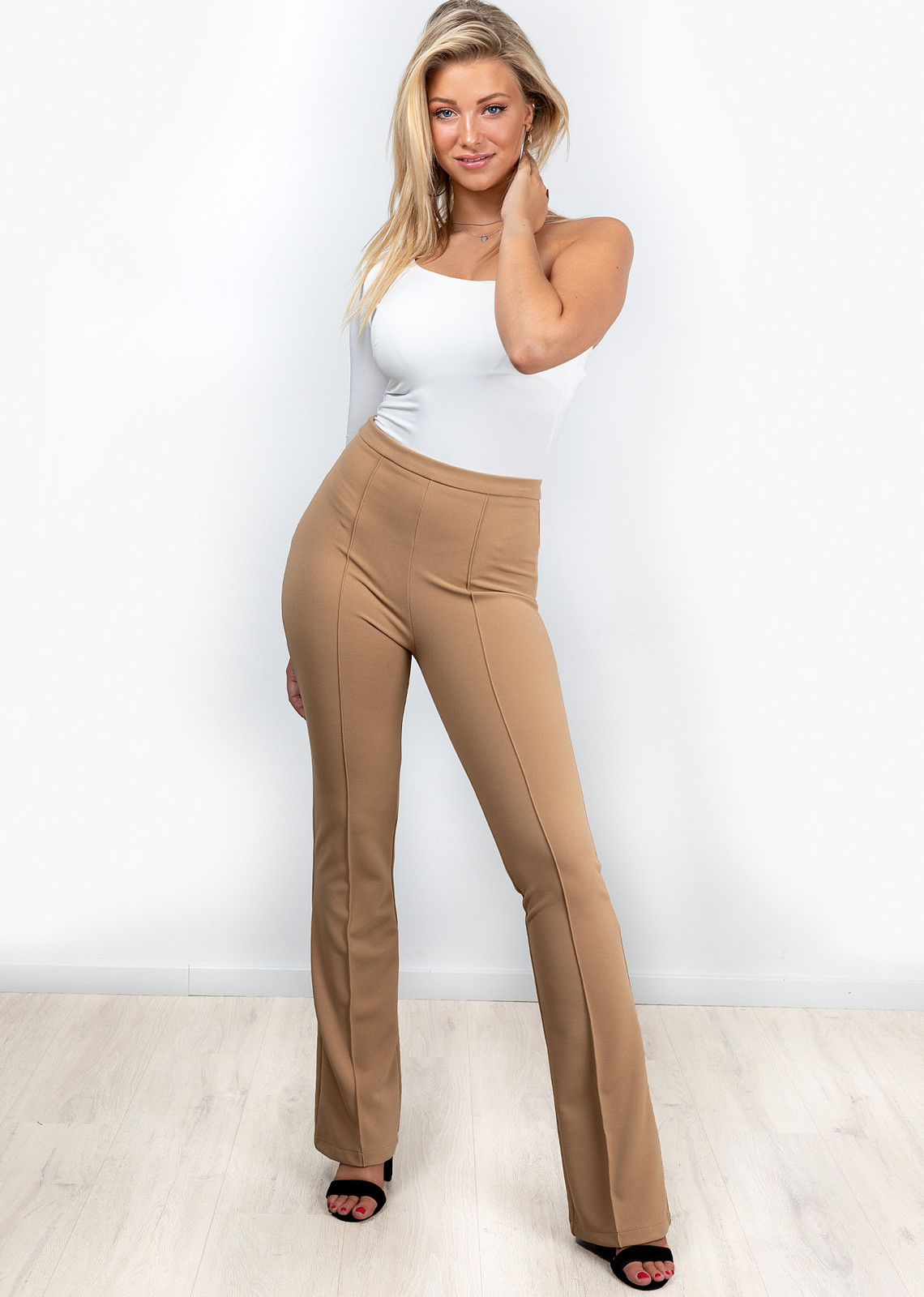 Flare broek Everly beige