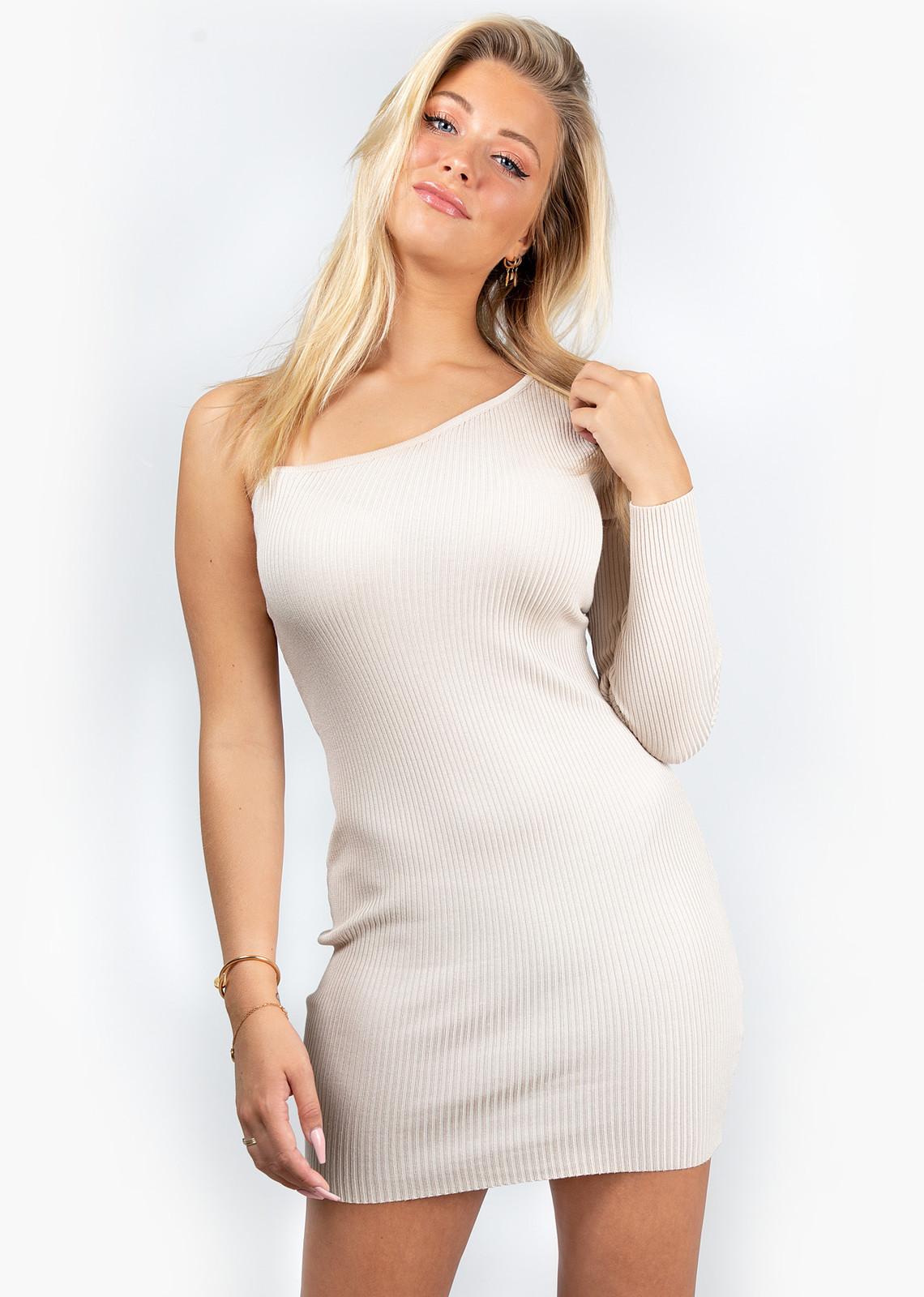 Dress one sleeve beige