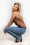 Denim jeans zijsplit Bianca
