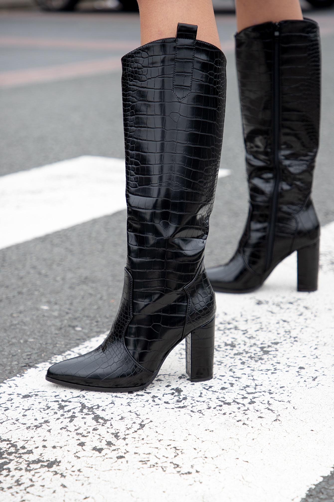 Zwarte croco dameslaars Fay