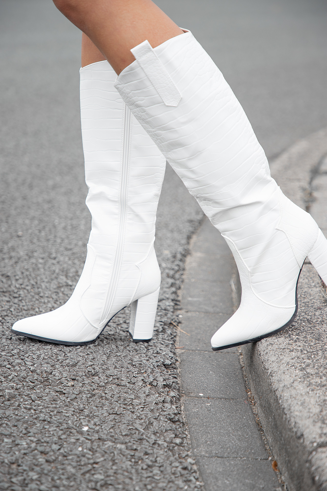 Witte croco dameslaars Fay