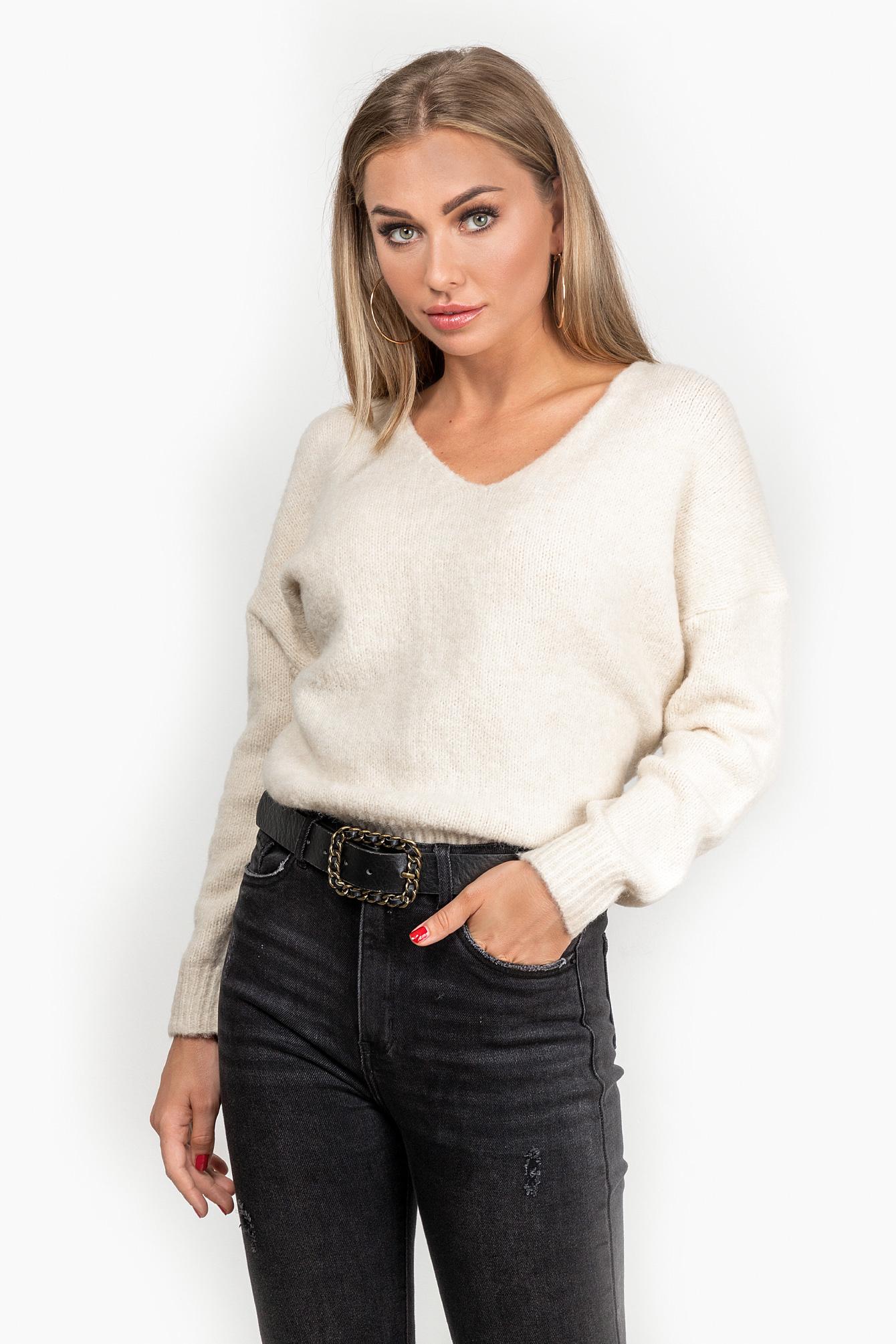 Famous Store Cozy sweater wit I Zachte trui met v nek