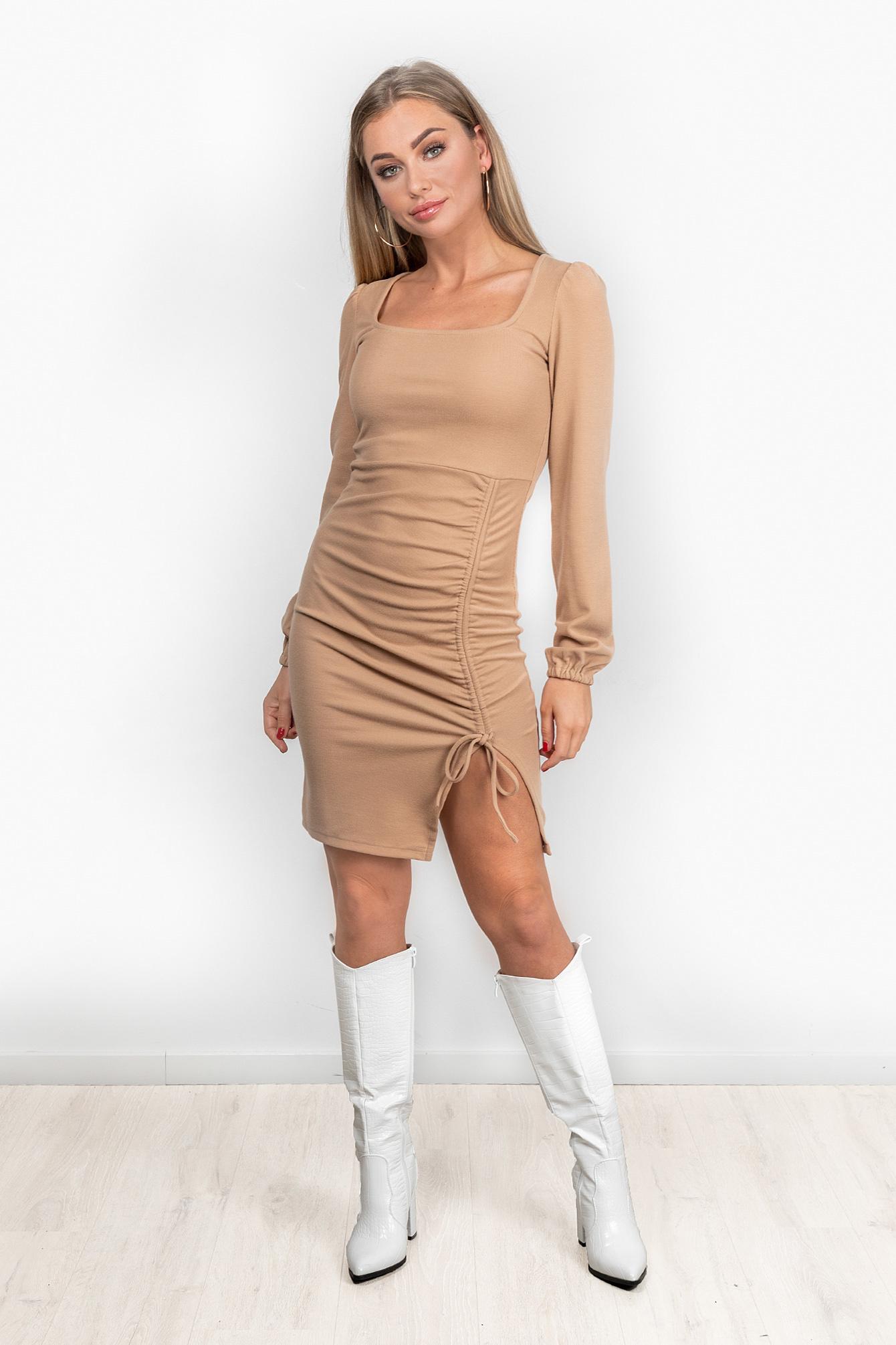 Rib jurk Roxi beige