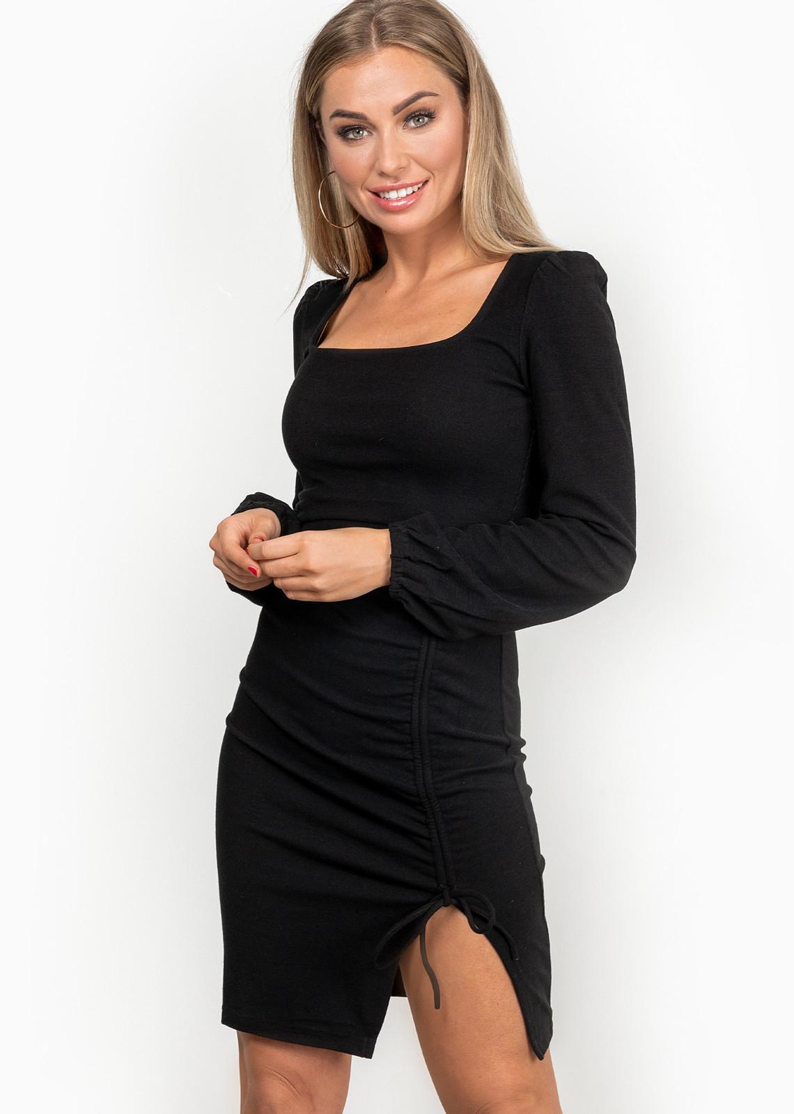 Rib jurk Roxi zwart
