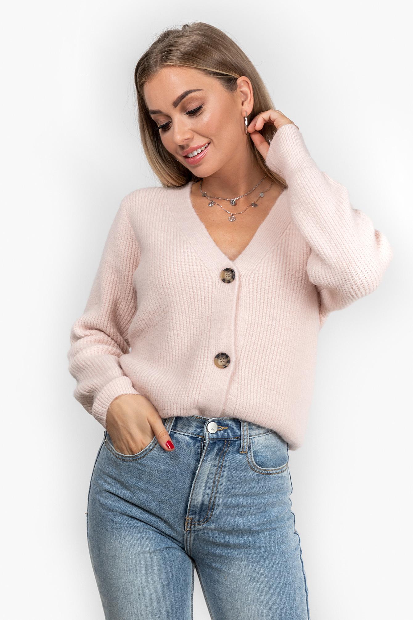 Button knit Vaja roze
