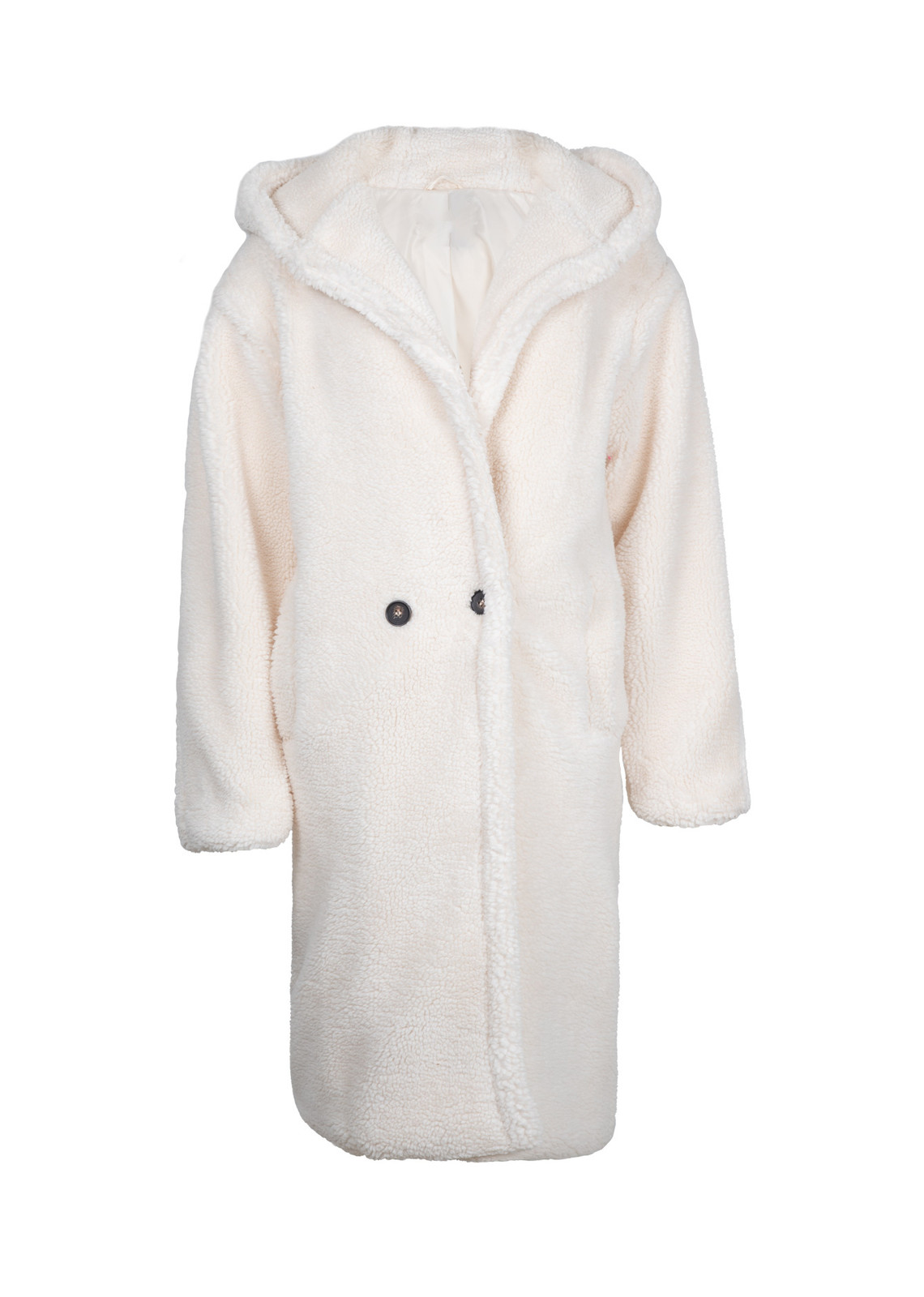 Fluffy coat met capuchon off white