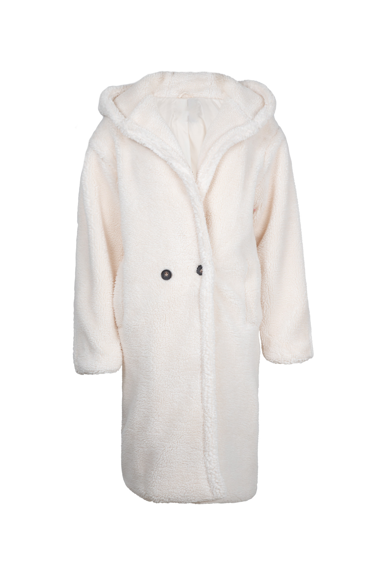 Fluffy coat met capuchon off white