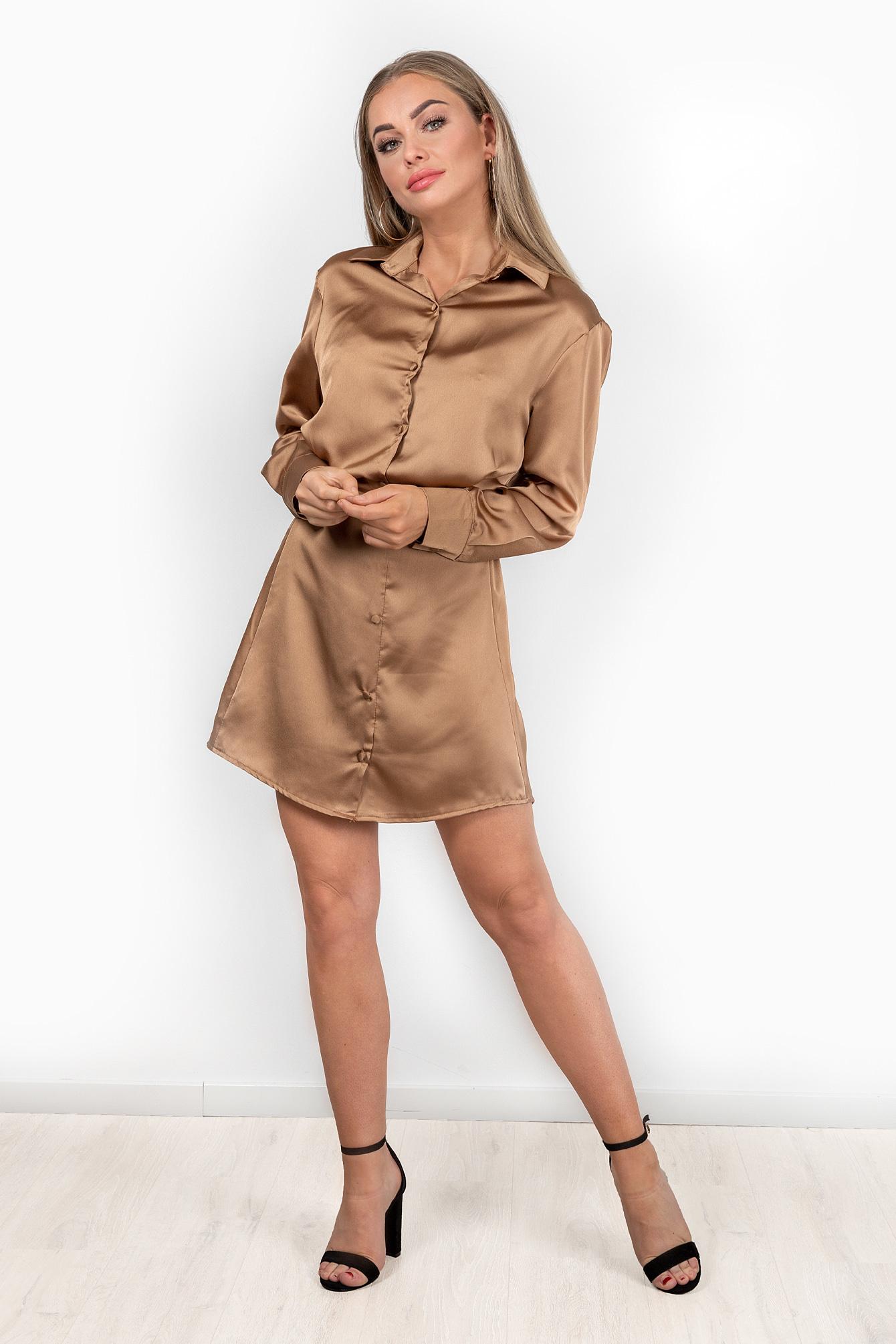 Satin dress Jaimy camel