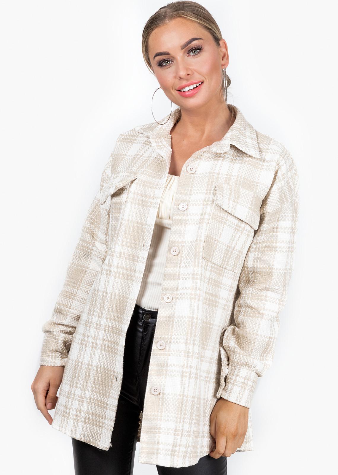 Tartan blouse Jinke beige