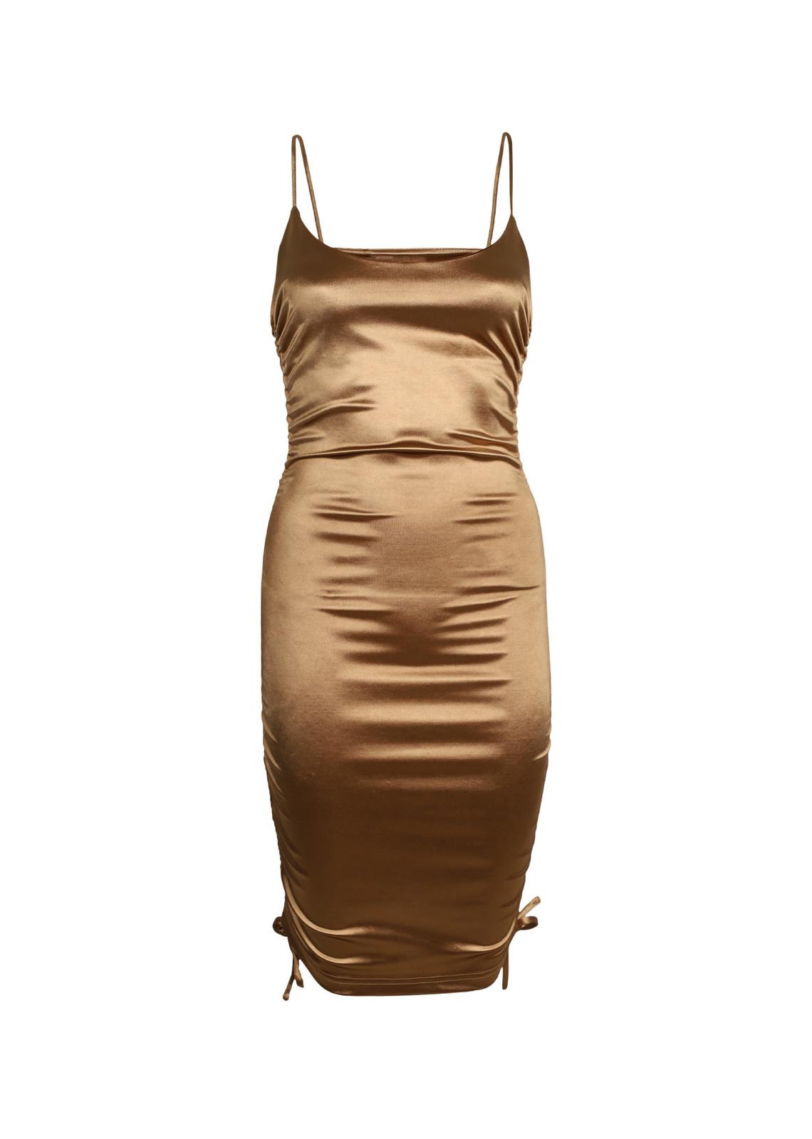 Satin dress Nora camel