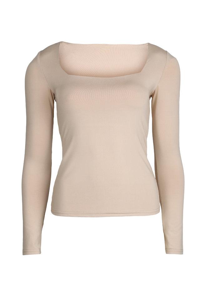 Basic stretch top Daisy beige