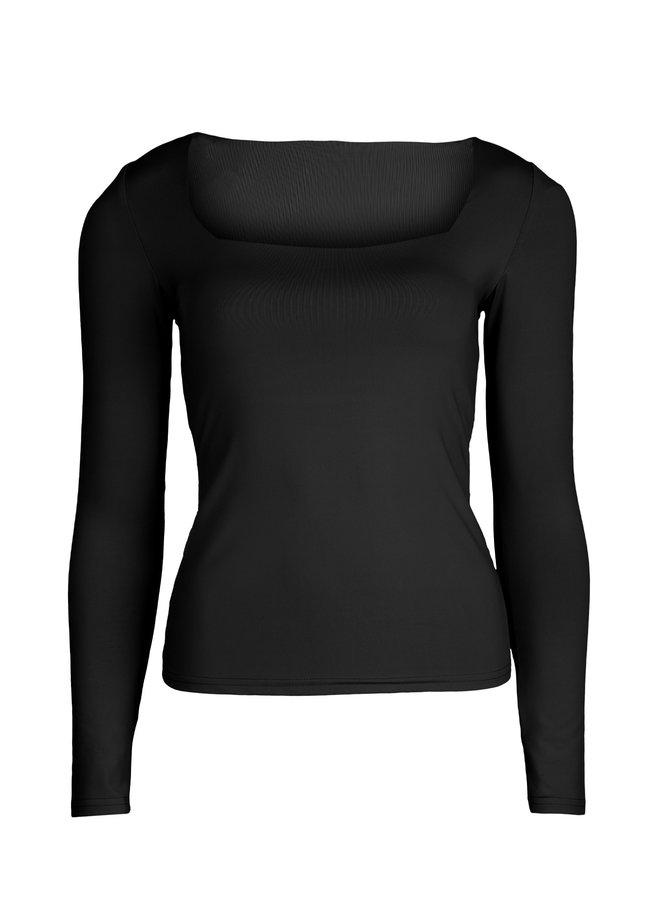 Basic stretch top Daisy zwart