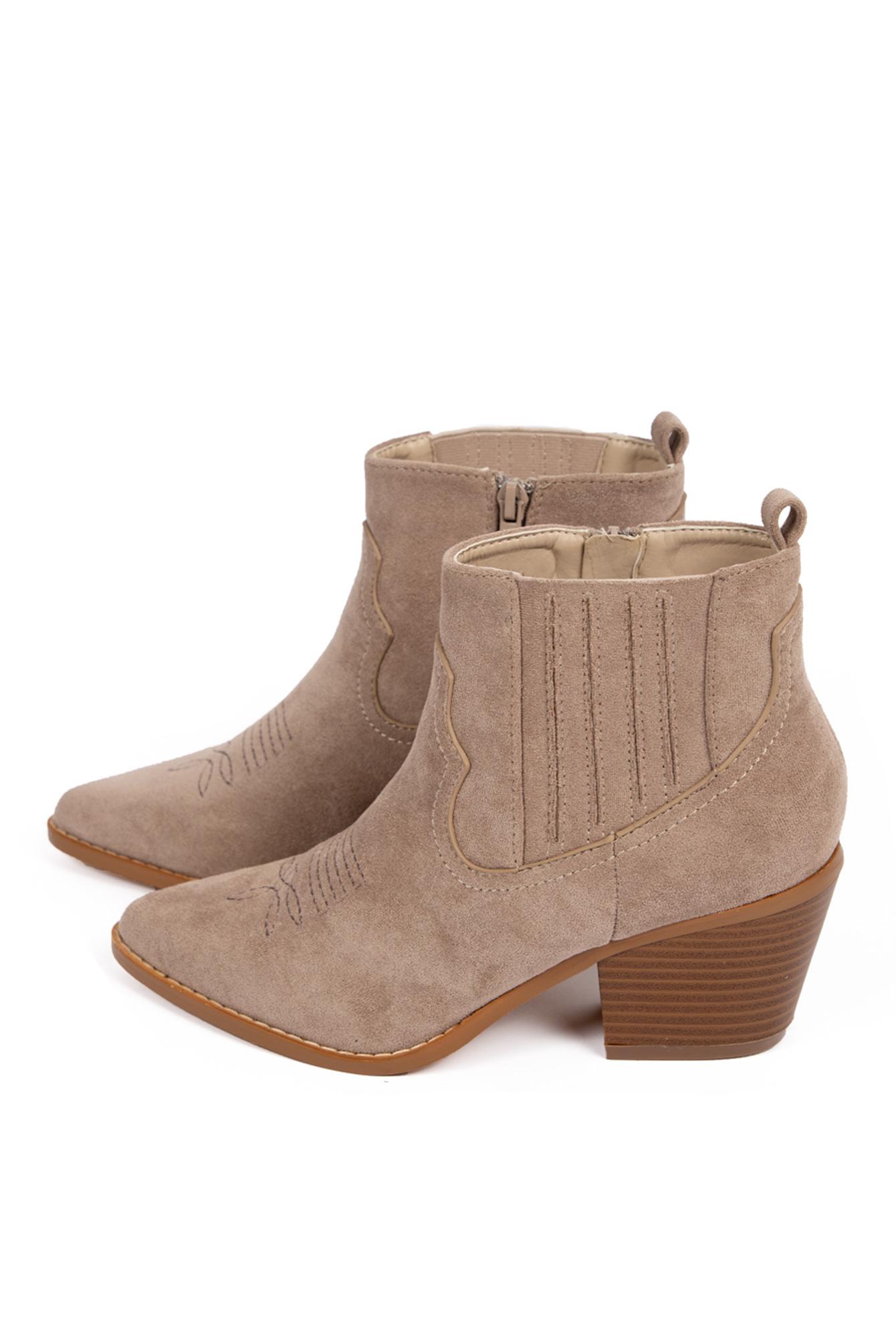 Suede look western boots beige