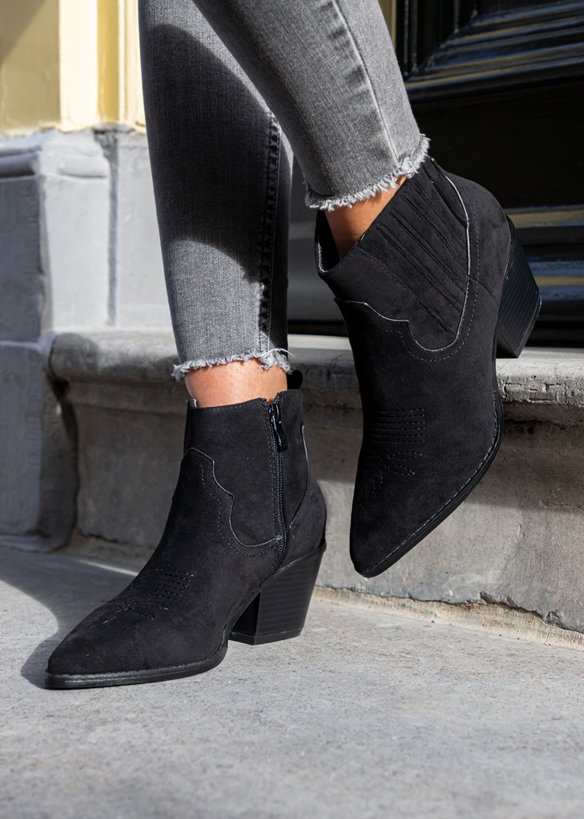 Suede look western boots black