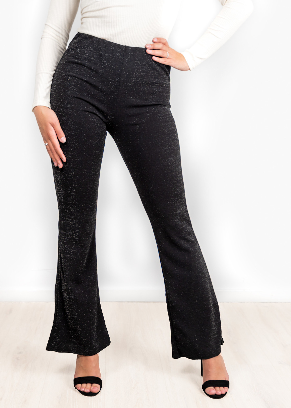 Glitter flared pants black