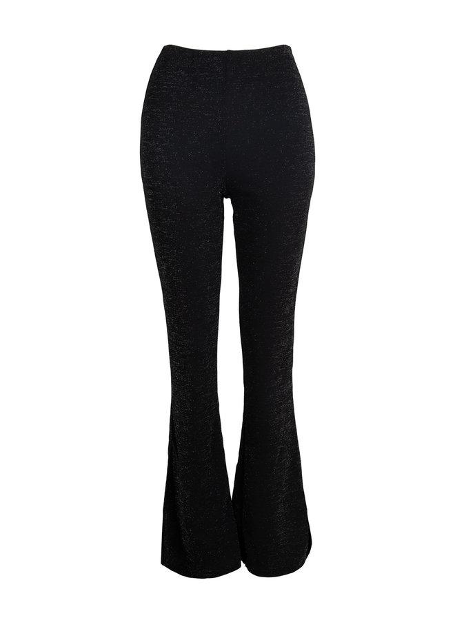 Glitter flared pants black