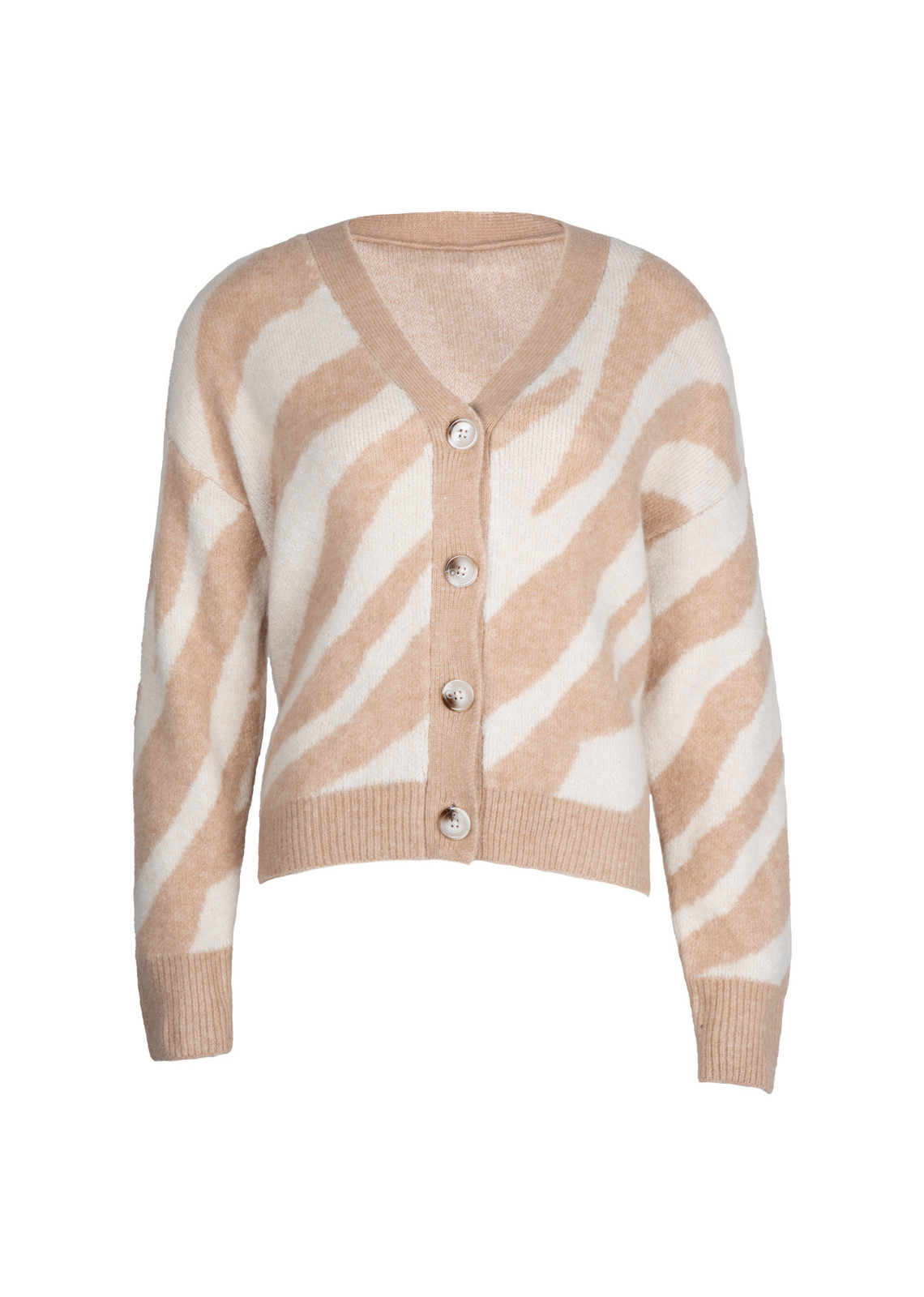 Button knit print beige