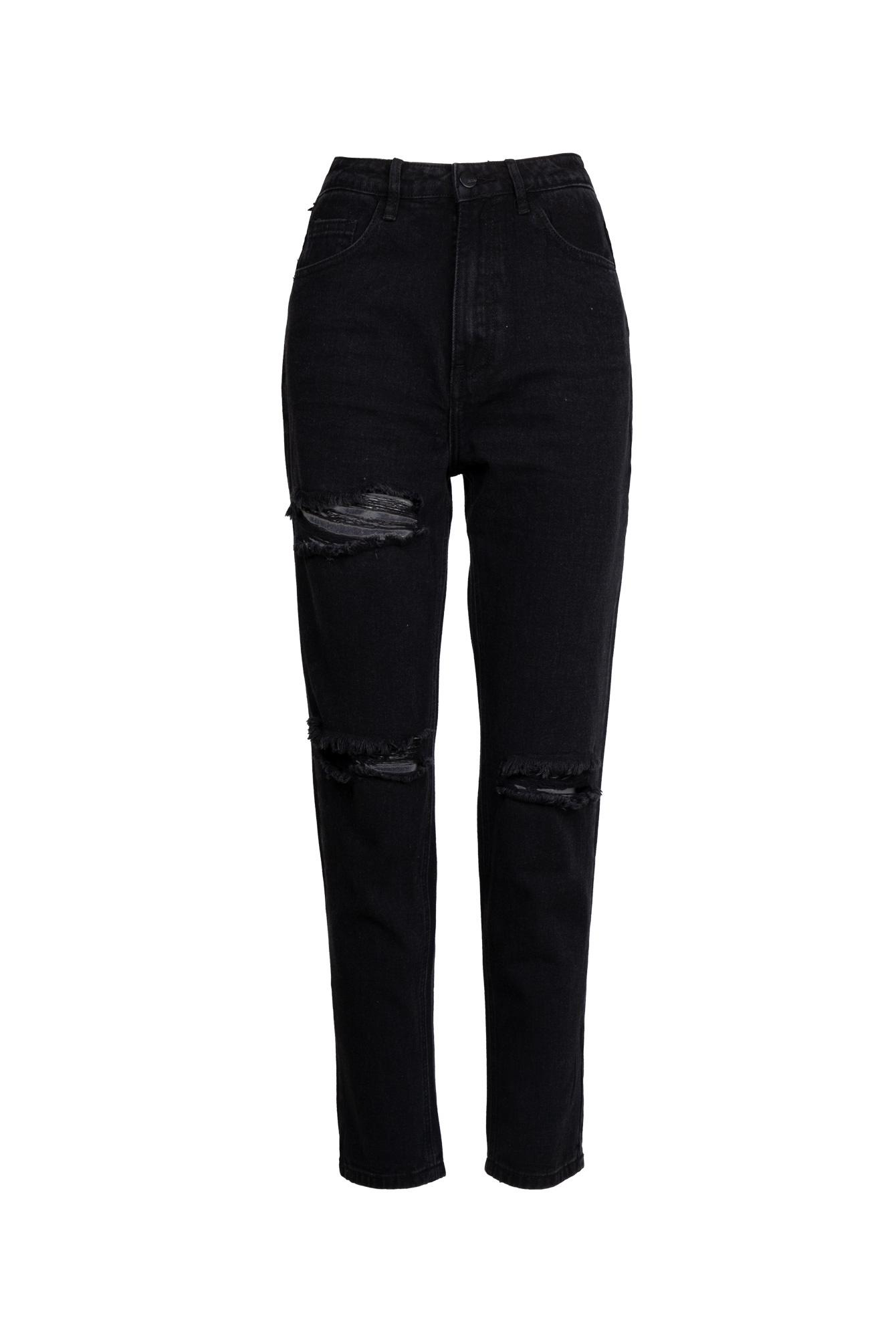 Cut out mom jeans zwart