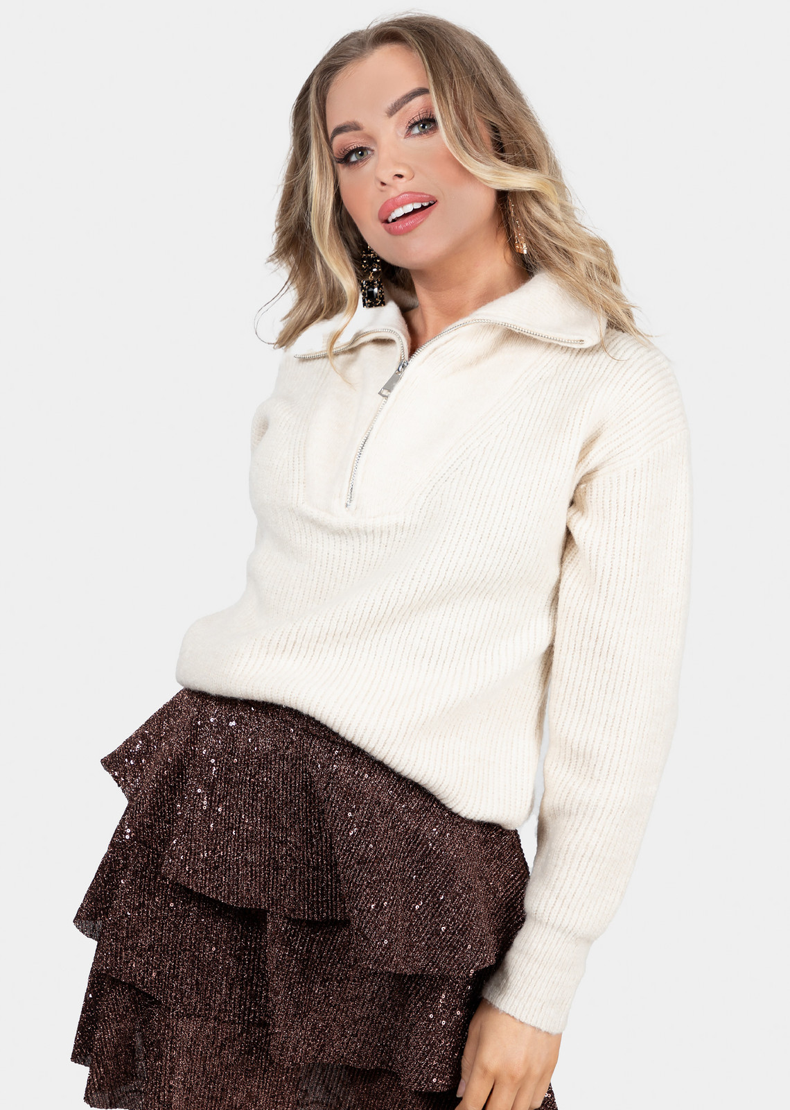 Zip knit beige