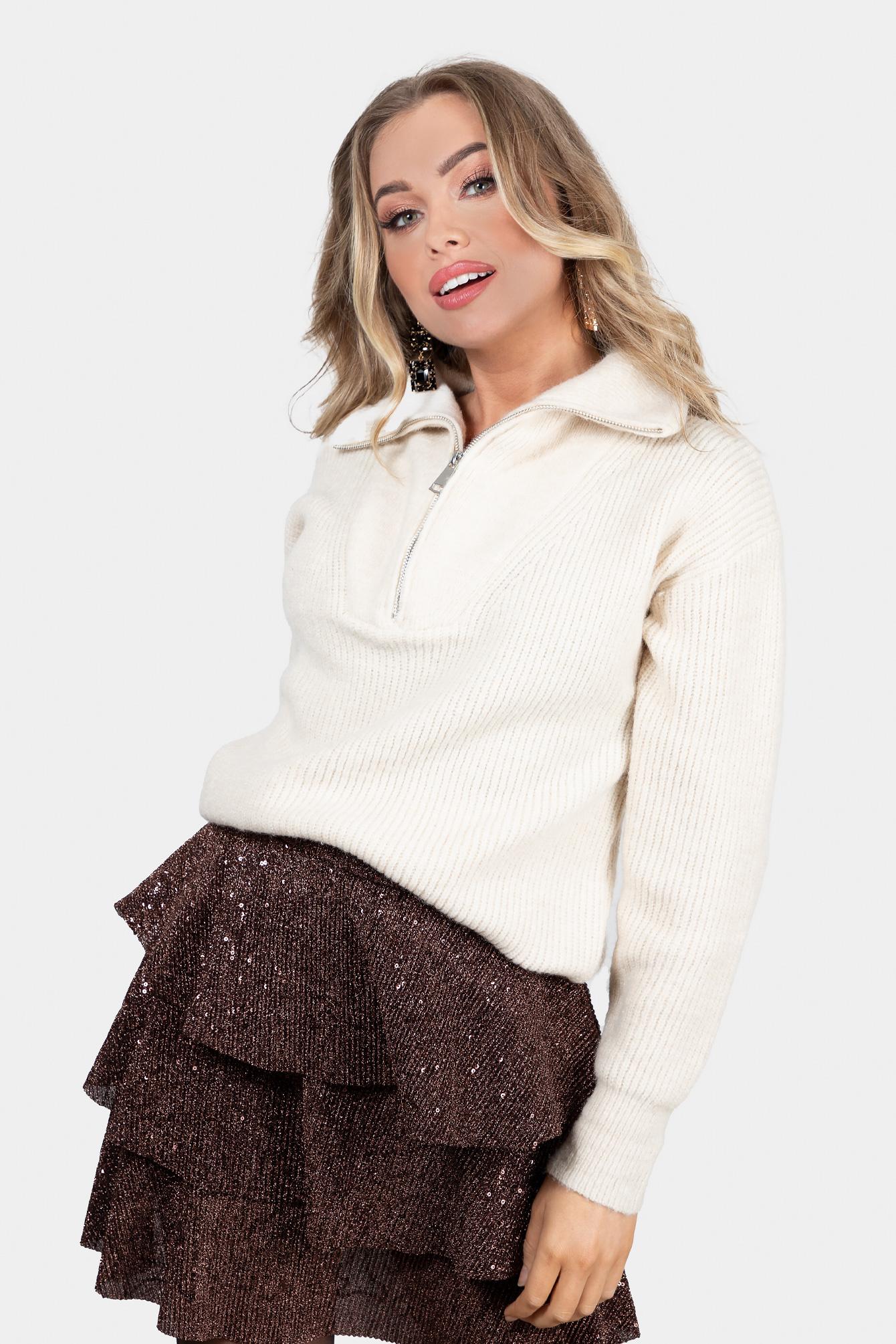 Zip knit beige