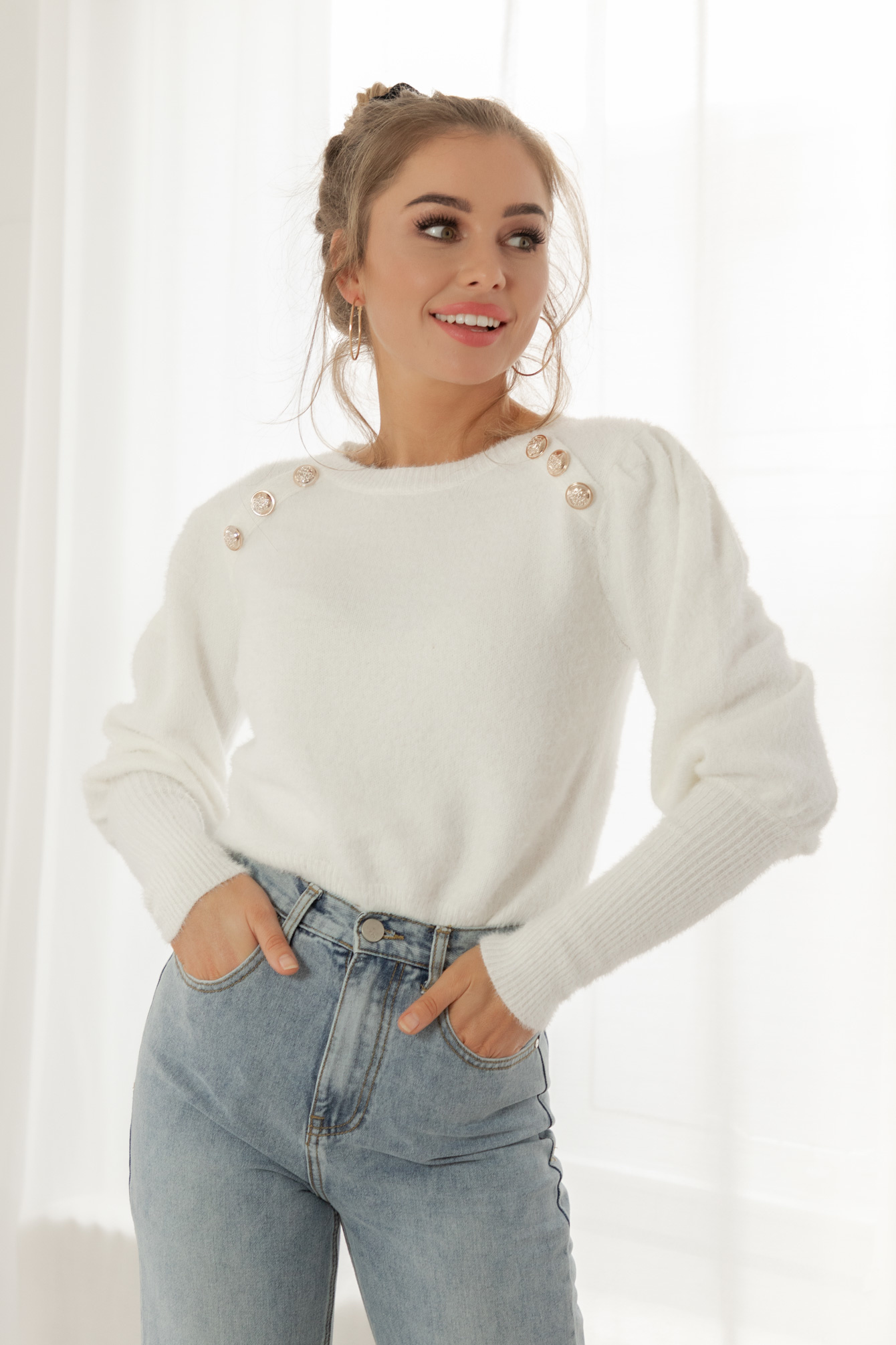 Button knit Candy off white