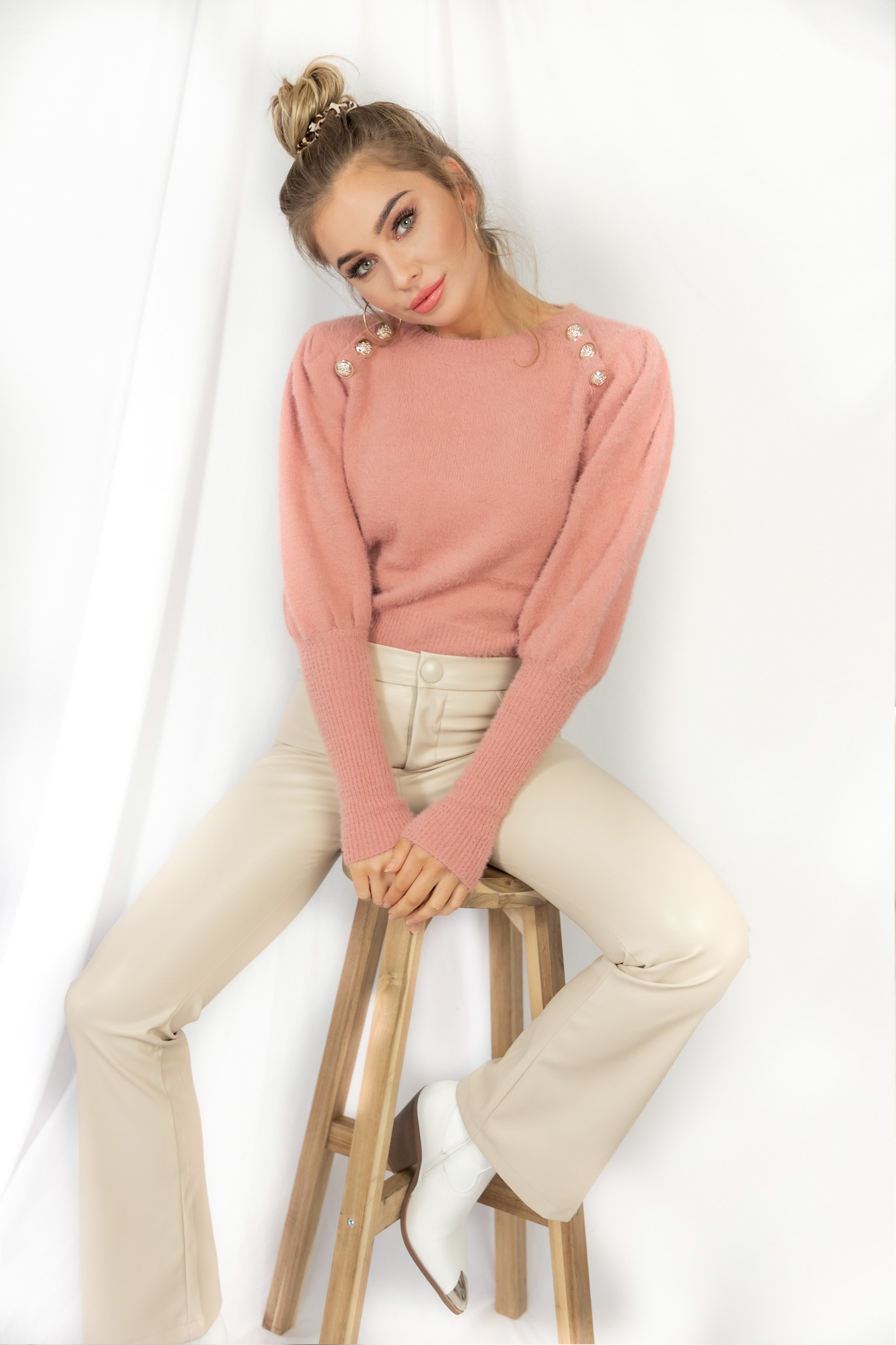 Button knit Candy pink