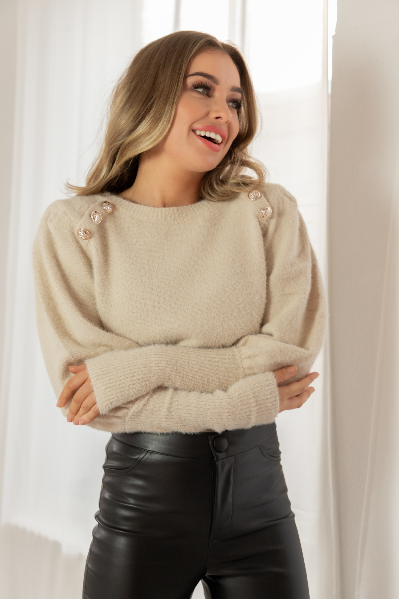 Button knit Candy beige