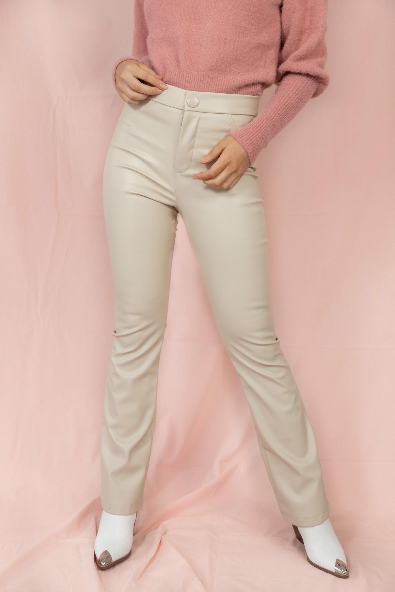 Broek leer look Leona beige
