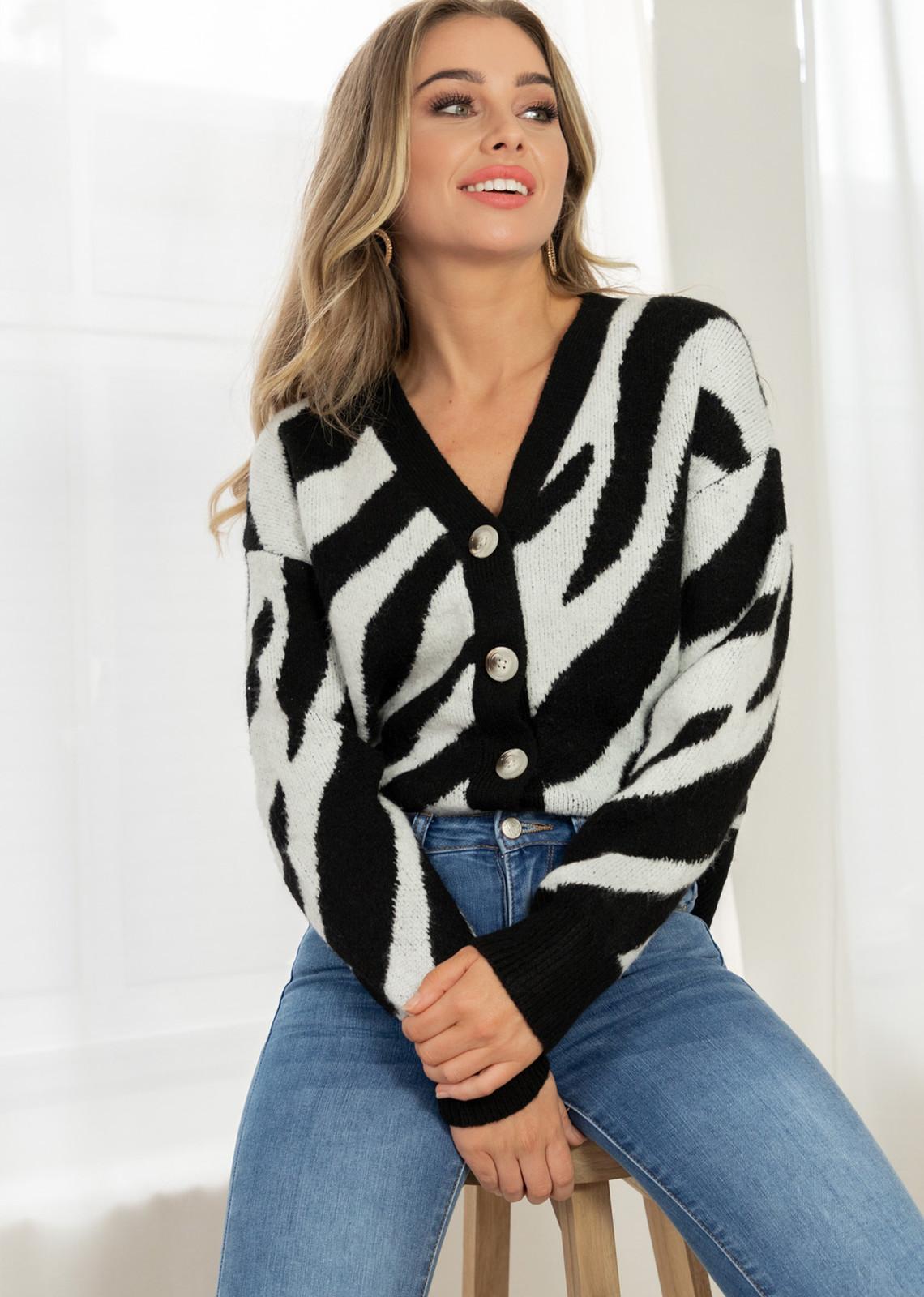 Button knit print zwart