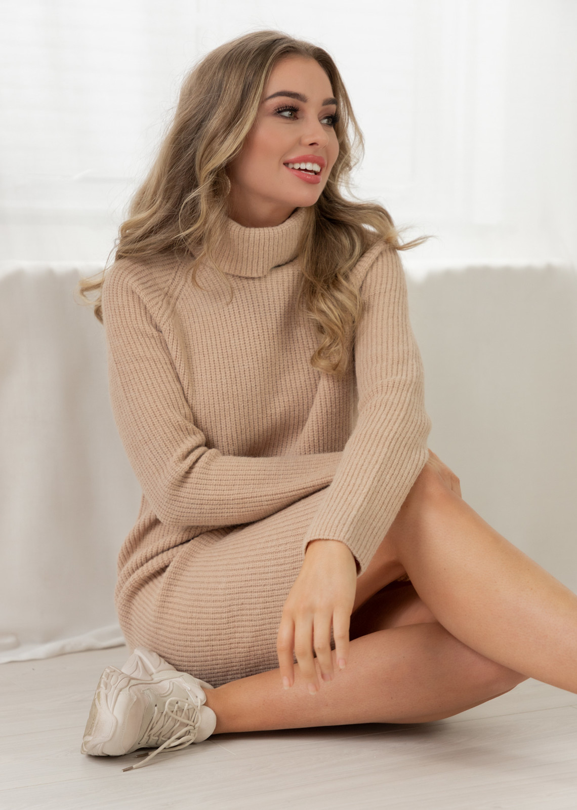 Sweater dress beige Mandy