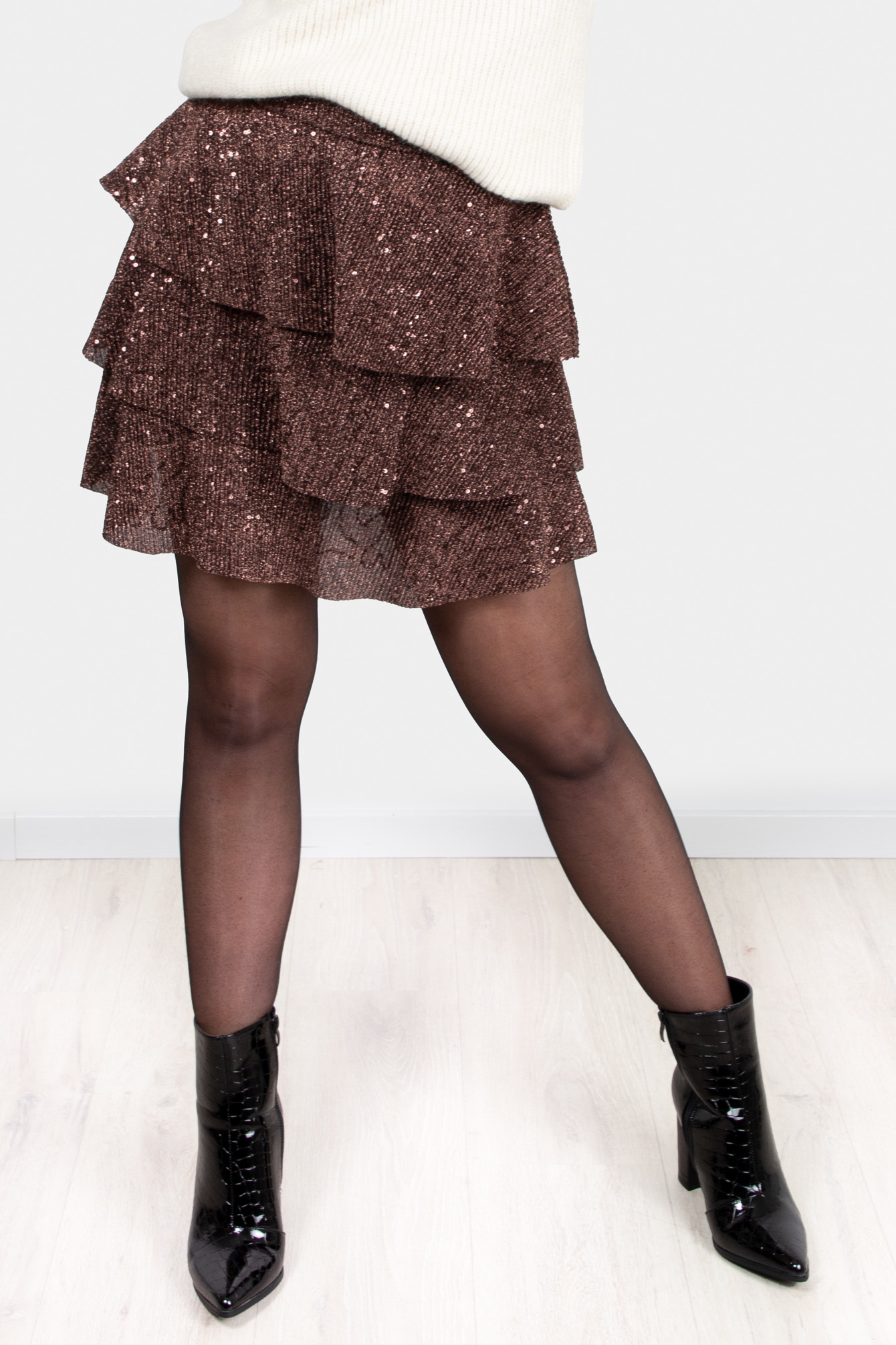 Glitter rok Amy bruin