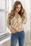 Button knit print beige