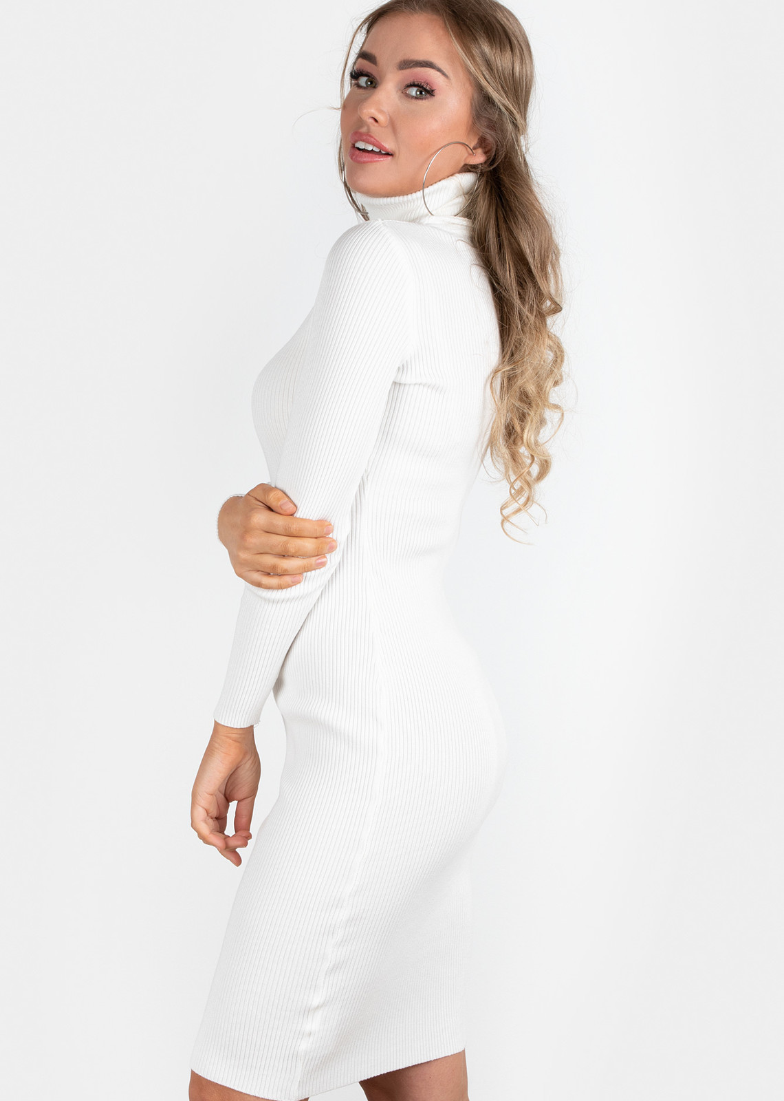 turtle neck rib dress white