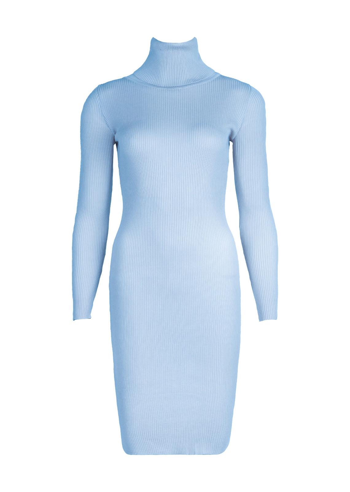 Turtle neck rib dress blue