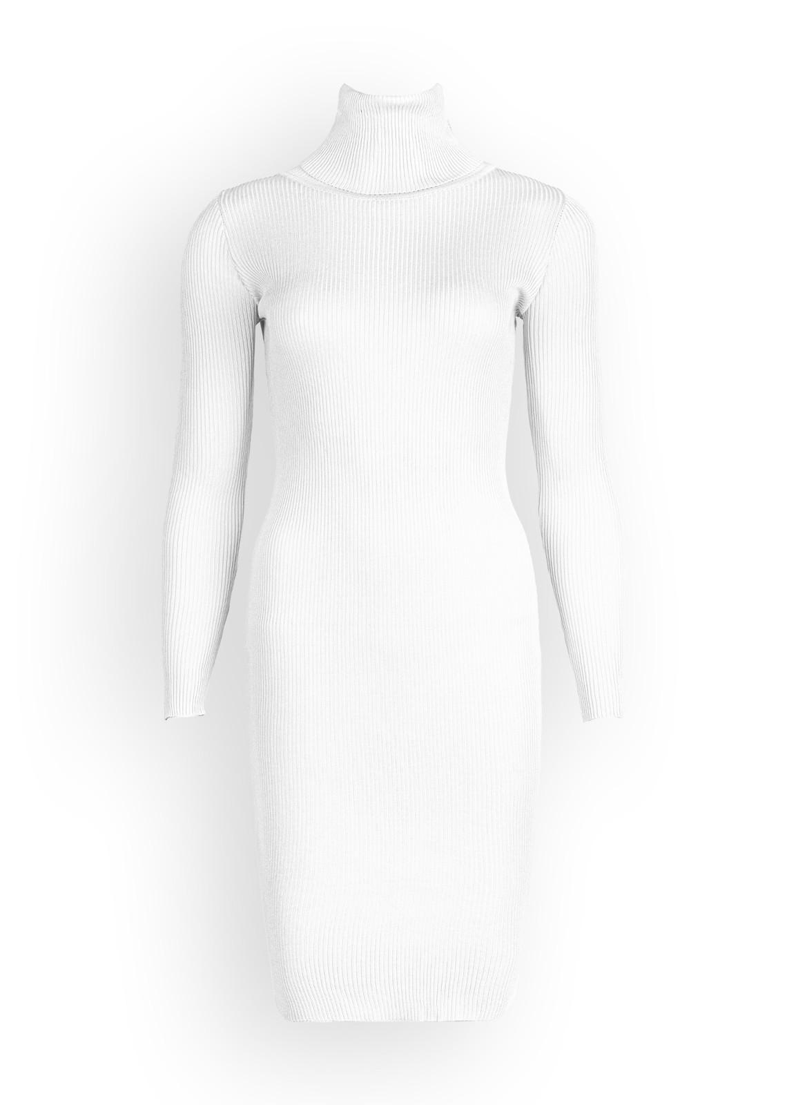 turtle neck rib dress white