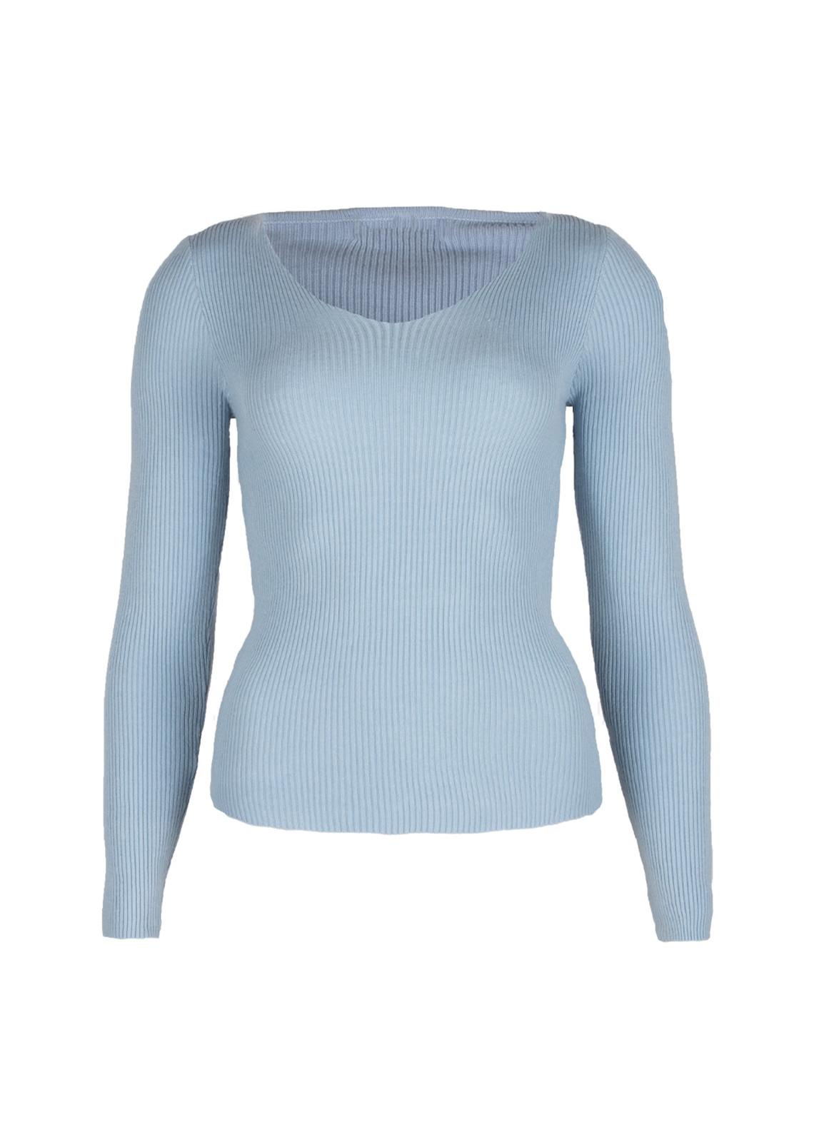 Basic rib trui Nikkie blauw