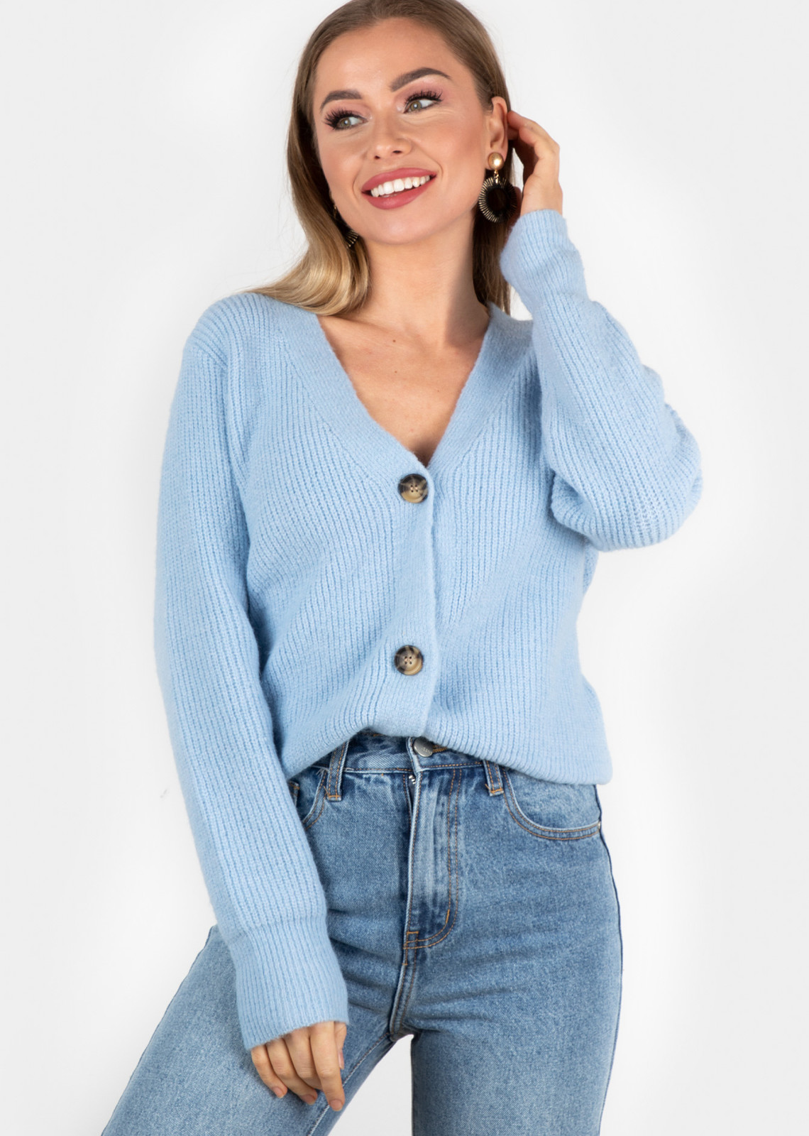 Button knit Vaja blue