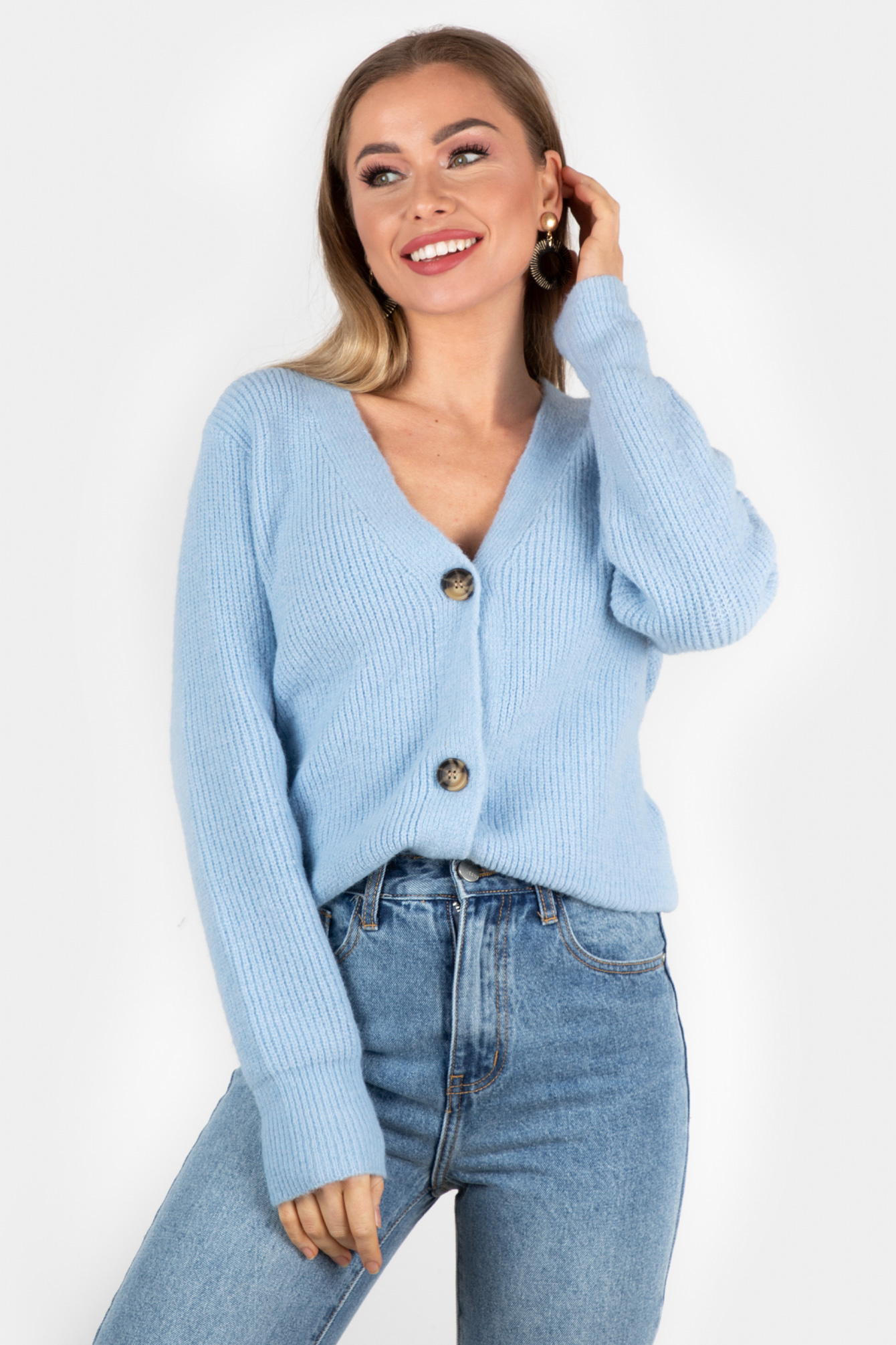Button knit Vaja blue