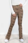 Cheetah flare pants beige
