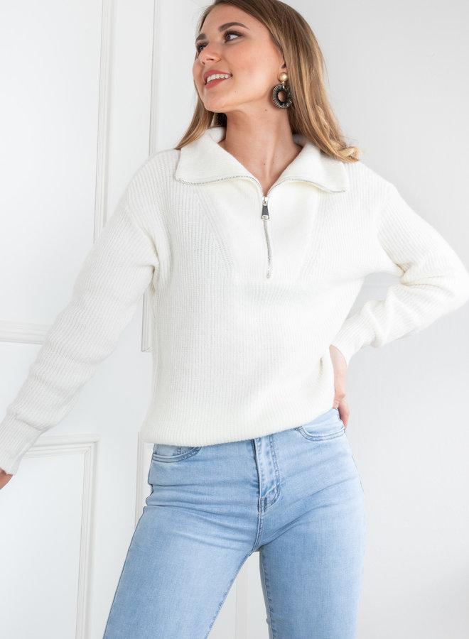 Zip knit off white