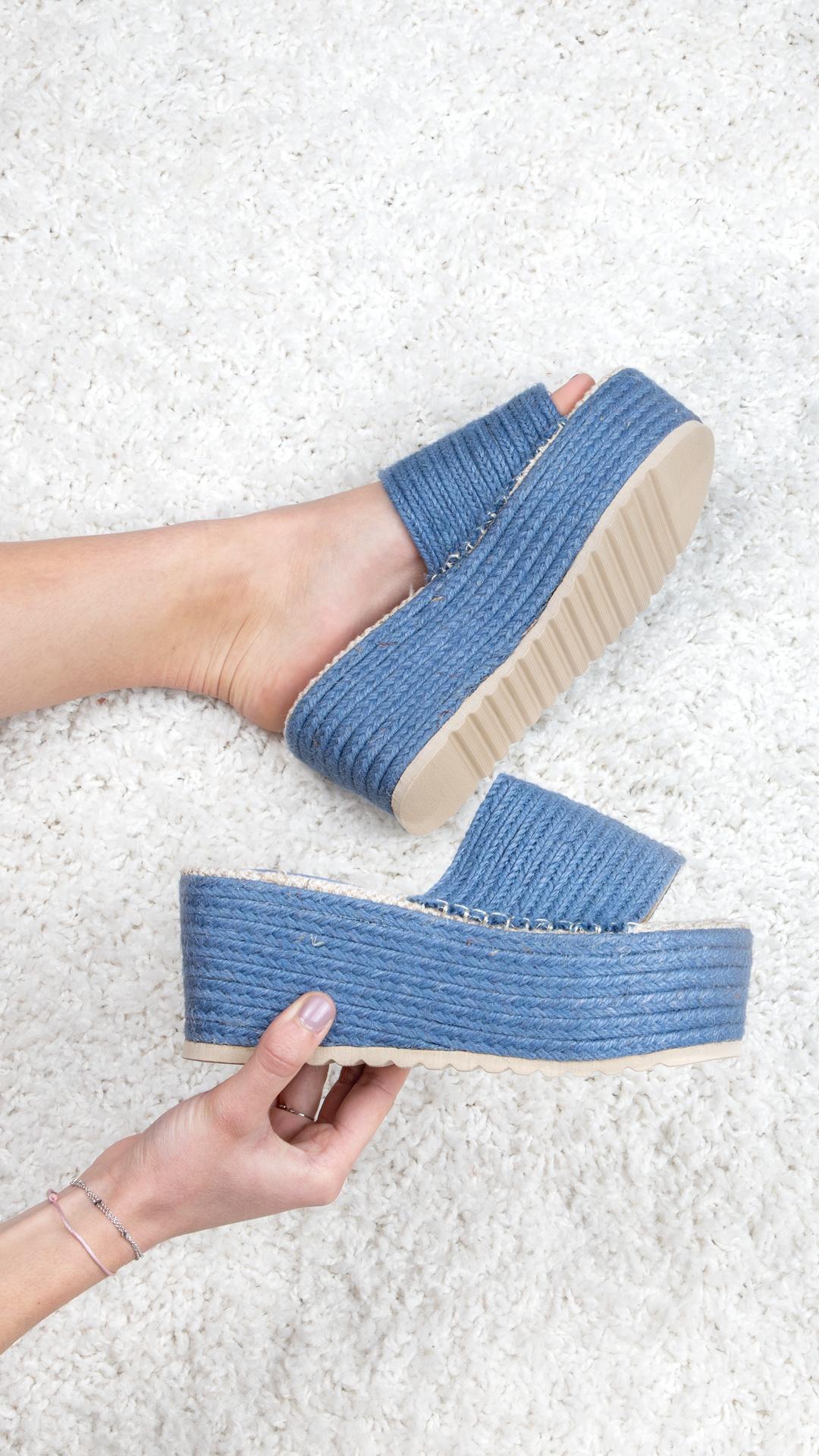 Slipper platform Coco blue
