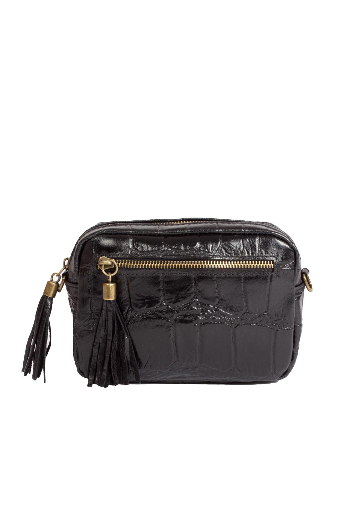 Croco leather bag black