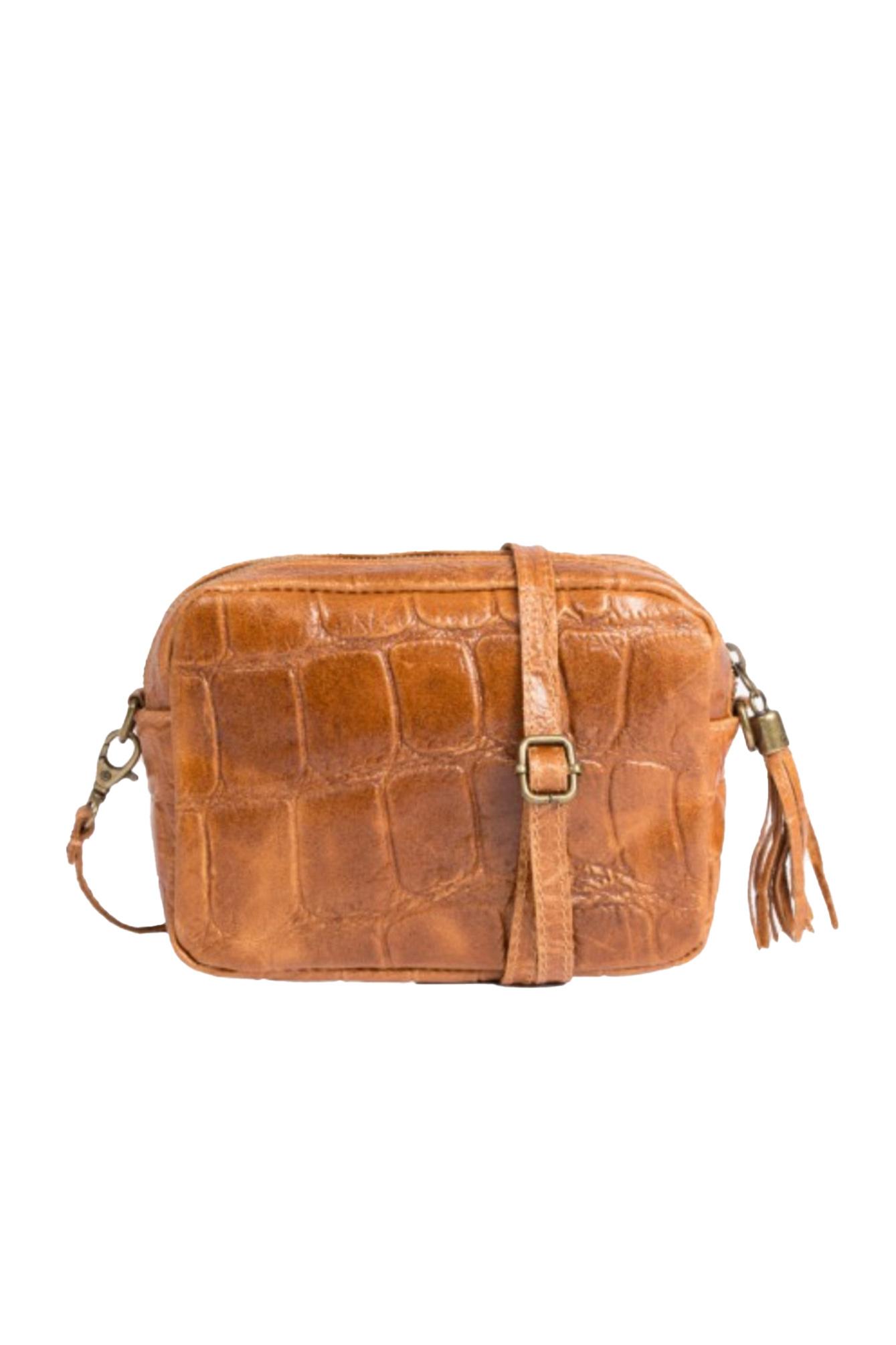 Croco leather bag camel
