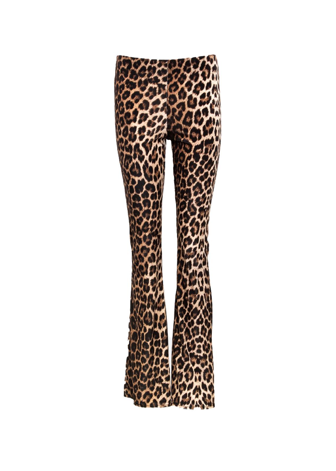 Leopard flared broek